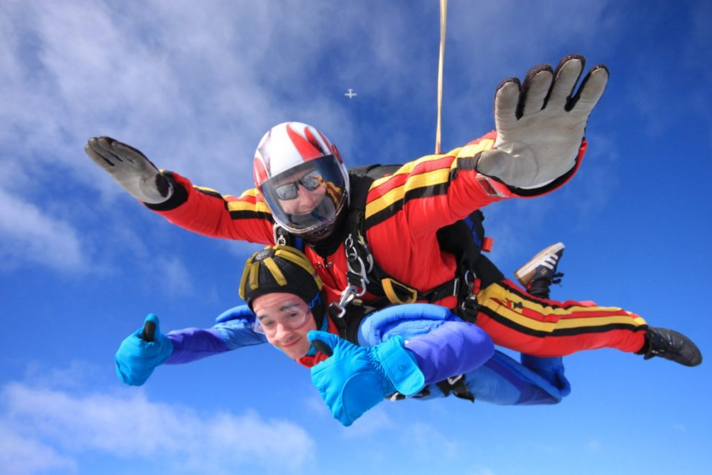 Thumbs up in freefall